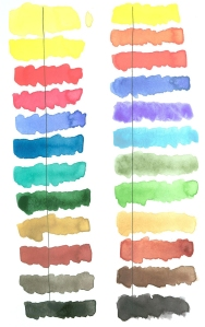 Schmincke set color comparison: old set colors on left, new set colors on right