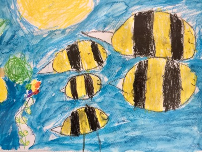Bees- Kaj, age 7- marabu art crayons and beeswax crayon on watercolor paper
