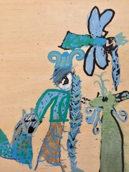 blue fox and dragonfly- Wren, age 9 (though much younger when she made it) - beeswax crayons and molotow paint markers on basswood panel