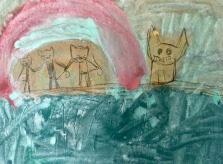 3 kittens and their windmill house- Wren, age 9- acrylic inks and beeswax crayon on basswood panel