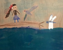 Girl on a branch- Wren age 9- watercolors, inks and beeswax crayon on basswood