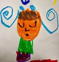 orange face girl- Freyja, age 5- playcolor on paper