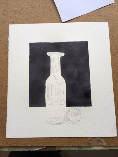 Fabriano 140 Cold Press underdrawing
